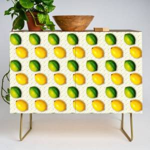 Society6 Vintage Lemon And Lime Pattern Modern Credenza Cupboard by Peter Gross - Gold - Walnut