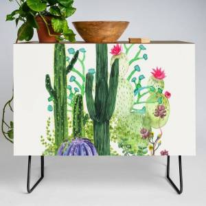 Society6 Cactus Garden Modern Credenza Cupboard by Nadja - Black - Walnut
