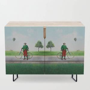 Society6 Mr Cyrus D. Chympe On The Cycling Trail Modern Credenza Cupboard by Peter Gross - Black - Birch