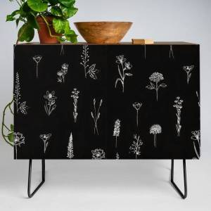Society6 Little Patagonian Wildflowers Modern Credenza Cupboard by Anis Illustration - Black - Walnut