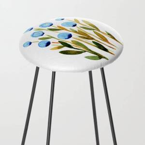Society6 Simple Watercolor Flowers - Blue And Sap Green Kitchen Counter Stool by Angela Minca - Black