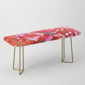 Society6 Wild Bougainvillea, Bloom Summer Floral Bohemian Pop Of Color Botanical Jungle Watercolor Painting Bench/ottoman by 83 Orangesa(r) Art Shop - Gold