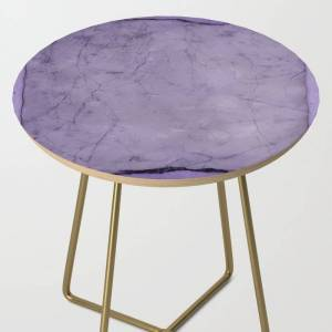 Society6 Faux Crushed Velvet. Side Table by Robert's Abstracts - Gold - Round