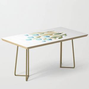 Society6 Simple Watercolor Flowers - Blue And Sap Green Modern Coffee Table by Angela Minca - Gold