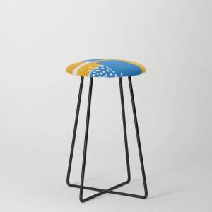 Society6 Mid Century Modern Abstract Minimalist Fun Colorful Shapes Patterns Ikea Yellow & Blue Kitchen Counter Stool by Enshape - Black