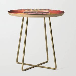 Society6 Sturgill Simpson A Good Lookn World Tour Dates 2020 Asamjawa Side Table by Ami507 - Gold - Round