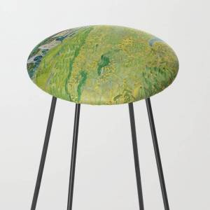 Society6 Vincent Van Gogh View Of Vessenots Near Auvers Kitchen Counter Stool by Art Gallery - Black
