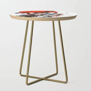 Society6 Astray Red Frame Bust F-12 Side Table by Syndicatestudio - Gold - Round