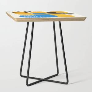 Society6 Mid Century Modern Abstract Minimalist Fun Colorful Shapes Patterns Ikea Yellow & Blue Side Table by Enshape - Black - Square