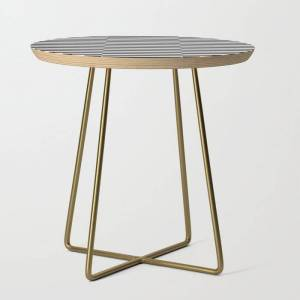 Society6 Ikea Stockholm Rug Pattern - Black Stripe Black Side Table by Dizzy Moments - Gold - Round