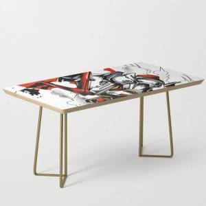 Society6 Astray Red Frame Bust F-12 Modern Coffee Table by Syndicatestudio - Gold
