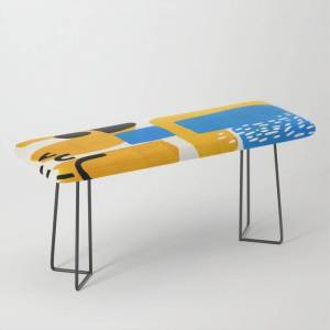 Society6 Mid Century Modern Abstract Minimalist Fun Colorful Shapes Patterns Ikea Yellow & Blue Bench/ottoman by Enshape - Black