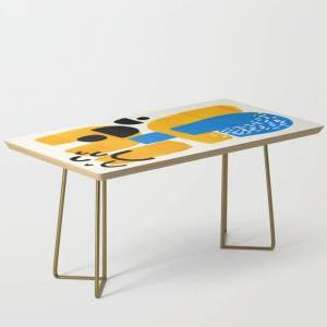 Society6 Mid Century Modern Abstract Minimalist Fun Colorful Shapes Patterns Ikea Yellow & Blue Modern Coffee Table by Enshape - Gold