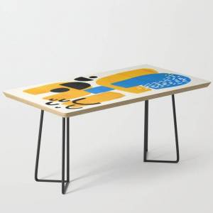 Society6 Mid Century Modern Abstract Minimalist Fun Colorful Shapes Patterns Ikea Yellow & Blue Modern Coffee Table by Enshape - Black