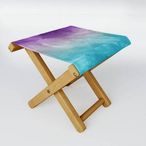 Society6 Purple Aqua Teal Ombre Pattern Watercolor Painting Folding Stool by Honey Design Studio - One Size