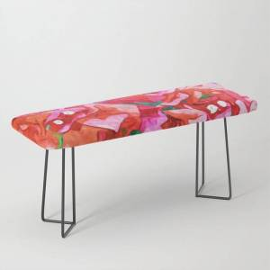 Society6 Wild Bougainvillea, Bloom Summer Floral Bohemian Pop Of Color Botanical Jungle Watercolor Painting Bench/ottoman by 83 Orangesa(r) Art Shop - Black