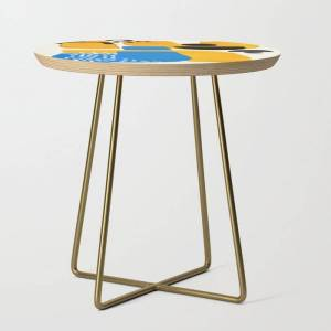 Society6 Mid Century Modern Abstract Minimalist Fun Colorful Shapes Patterns Ikea Yellow & Blue Side Table by Enshape - Gold - Round