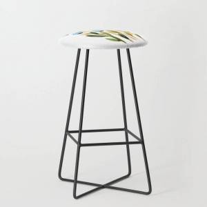 Society6 Simple Watercolor Flowers - Blue And Sap Green Kitchen Bar Stool by Angela Minca - Black