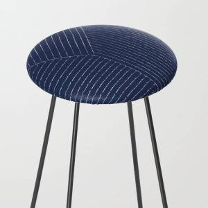 Society6 Lines / Navy Kitchen Counter Stool by Summer Sun Home Art - Black