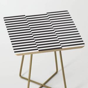 Society6 Ikea Stockholm Rug Pattern - Black Stripe Black Side Table by Dizzy Moments - Gold - Square