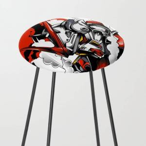 Society6 Astray Red Frame Bust F-12 Kitchen Counter Stool by Syndicatestudio - Black