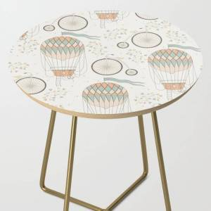 Society6 Vintage Wonderland - Hot Air Balloon Side Table by Shirts And Date Of Birth-by-frankenberg - Gold - Round