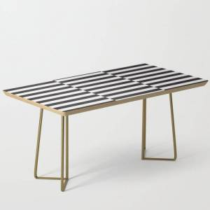Society6 Ikea Stockholm Rug Pattern - Black Stripe Black Modern Coffee Table by Dizzy Moments - Gold