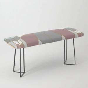 Society6 Art Deco G2 (abstract Geometric) Bench/ottoman by Absentis - Black