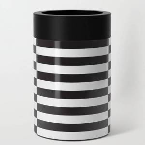 Society6 Ikea Stockholm Rug Pattern - Black Stripe Black Can Cooler/stubby Holder by Dizzy Moments - 12oz