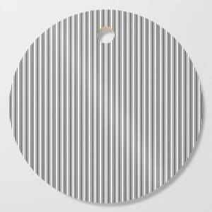 Society6 Trendy French Black And White Mattress Ticking Double Stripes Kitchen Cutting Board by Honor And Obey - Round