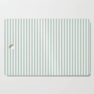Society6 Mattress Ticking Narrow Striped Pattern In Moss Green And White Kitchen Cutting Board by Podartist - Rectangle