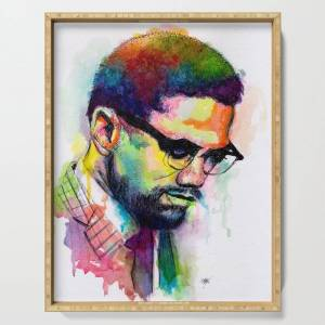 """Society6 Malcolm X Serving Tray by Morgan Overton   Mo In The Studio - 18"""" x 14"""" x 1 3/4"""""""