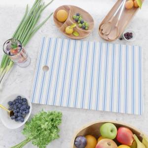 Society6 Mattress Ticking Wide Striped Pattern In Pale Blue And White Kitchen Cutting Board by Podartist - Rectangle
