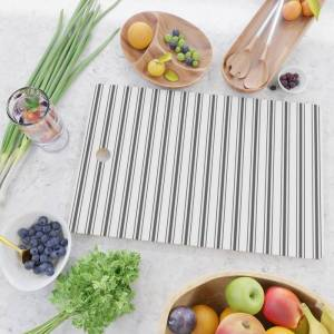 Society6 Mattress Ticking Wide Striped Pattern Black And White Kitchen Cutting Board by Kirstiepaige - Rectangle
