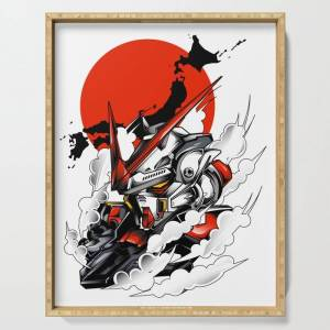 """Society6 Astray Red Frame Bust F-12 Serving Tray by Syndicatestudio - 18"""" x 14"""" x 1 3/4"""""""