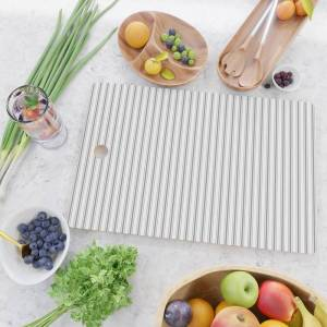 Society6 Mattress Ticking Narrow Striped Pattern In Charcoal Grey And White Kitchen Cutting Board by Podartist - Rectangle