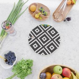 Society6 Ikea Lappljung Ruta Inverse Kitchen Cutting Board by Dizzy Moments - Round