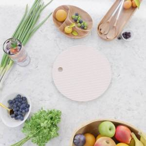 Society6 Light Soft Pastel Pink And White Mattress Ticking Kitchen Cutting Board by Honor And Obey - Round