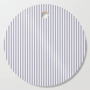 Society6 Mattress Ticking Narrow Striped Pattern In Usa Flag Blue And White Kitchen Cutting Board by Podartist - Round