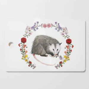 Society6 Opossum In Floral Wreath Kitchen Cutting Board by Mai S. Kemble - Rectangle