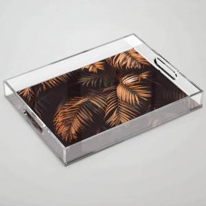 "Society6 Cinnamon Stick Palms Clear Acrylic Organizer/serving Tray by Ingrid Beddoes Photography - Medium 15 1/2"" x 12"""