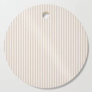 Society6 Classic Small Beige Burlap French Mattress Ticking Double Stripes Kitchen Cutting Board by Honor And Obey - Round