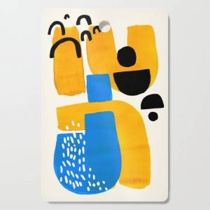 Society6 Mid Century Modern Abstract Minimalist Fun Colorful Shapes Patterns Ikea Yellow & Blue Kitchen Cutting Board by Enshape - Rectangle