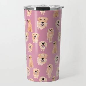 Society6 Golden Retrievers On Pink Travel Coffee Mug by Teri Martin - 20 oz