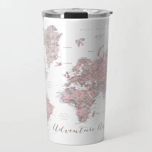 Society6 World Map In Dusty Pink & Grey Watercolor, Adventure Awaits Travel Coffee Mug by Blursbyaishop - 20 oz