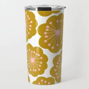 Society6 Mid Century Mod Flowers In Pink And Mustard Travel Coffee Mug by Apricot+birch - 20 oz