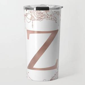 Society6 Letter Z Rose Gold Pink Initial Monogram Travel Coffee Mug by Nature Magick - 20 oz