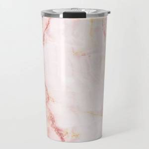 Society6 Pink Marble Abstract Travel Coffee Mug by Amy Peterson Art Studio - 20 oz