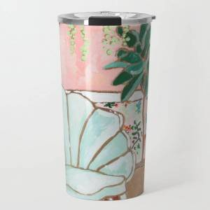Society6 Art Deco Velvet Mint Shell Chair In Jungle Room With Tigers Travel Coffee Mug by Lara Lee Meintjes - 20 oz