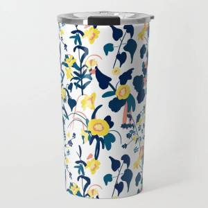 Society6 Buttercup Yellow, Salmon Pink, And Navy Blue Flowers On White Background Pattern Travel Coffee Mug by Naomi Bardoff - 20 oz